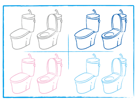 Toilet combination Hand washing Tank round drawing