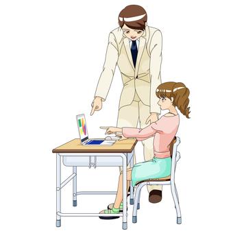 여자 초등학생과 남성 교사 PC 수업