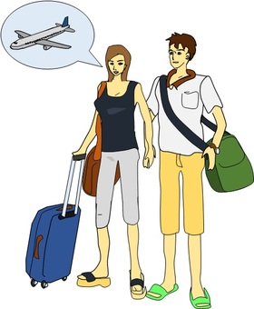 Vacation couple by plane