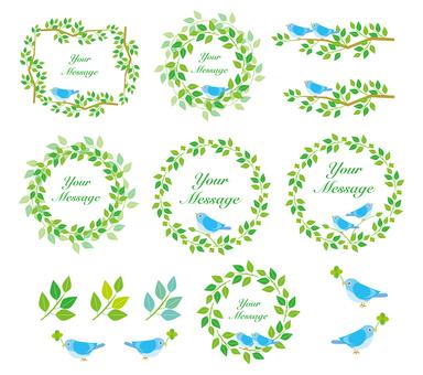 藍色的鳥和葉子的框架集