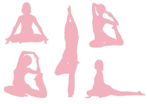 瑜伽/剪影(粉紅色)