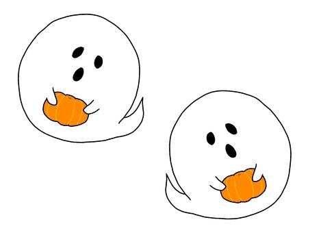 Halloween, a ghost with a pumpkin 5