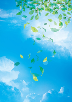 Fresh green and blue sky background material