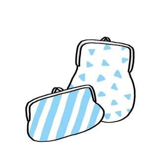 Handmade wallet <Light blue pattern / cute hand-painted>