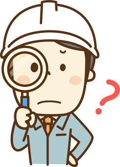 Men with work clothes with magnifying glasses