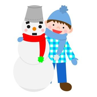 Snowman and a boy