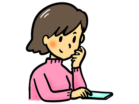 A woman looking at a smartphone happily