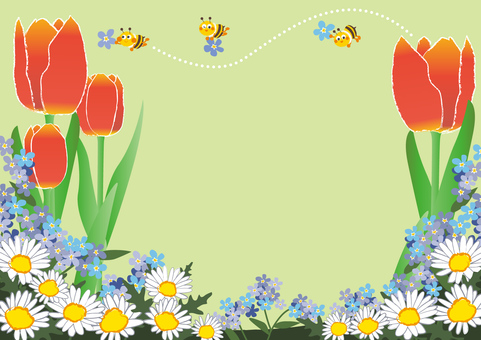 April _ Apr _ Flower field and honey bee 1