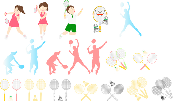 Badminton icon set