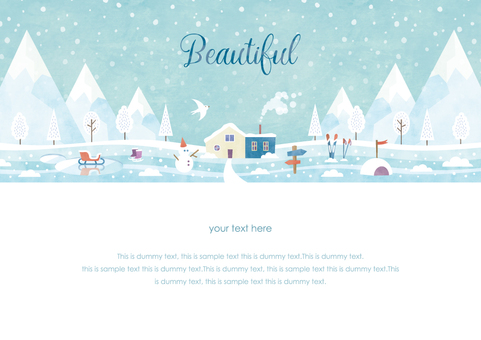 Winter background frame 039 snow scene watercolor