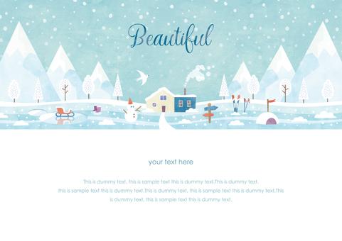 冬季背景框架039雪景水彩