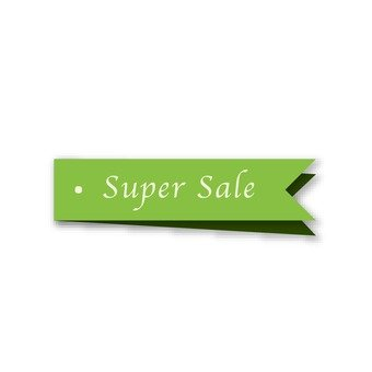 Super sale (tag of green ribbon)