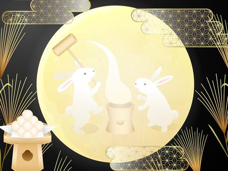 お月見兎の餅つき・ススキ・団子・霞の背景