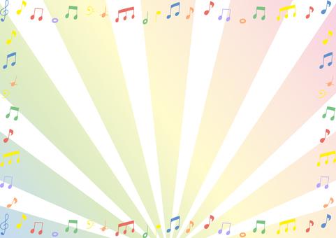 音符 フレーム 集中線背景