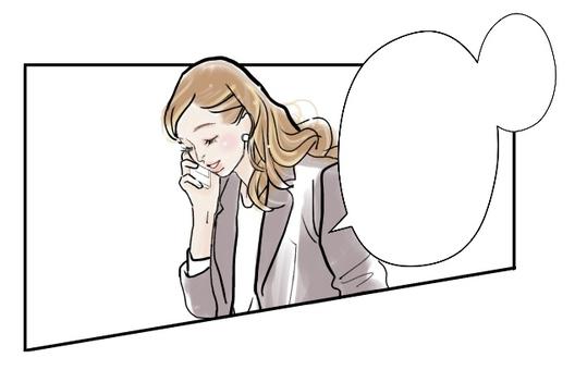 在工作中聊天的女性