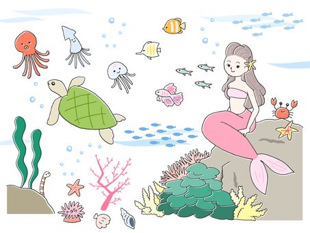 Hand drawn style illustration of sea creatures