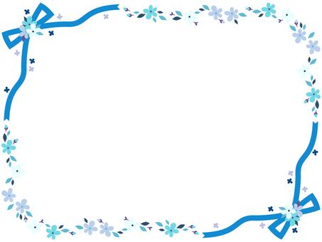 Ribbon and flower frame <Blue line>