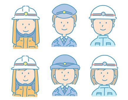 Fireman Police officer Emergency team illustration set
