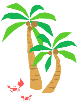 Crab and palm tree