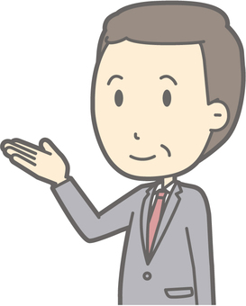 Middle-aged man suit - guide left diagonal - bust