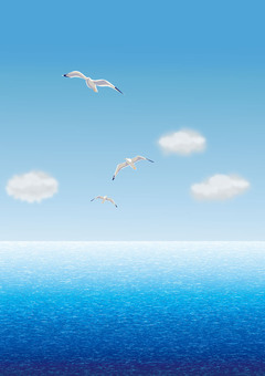 Sky and sea and seagulls-01