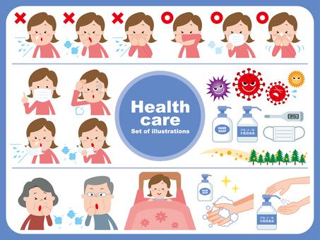 Cough etiquette infection control illustration set