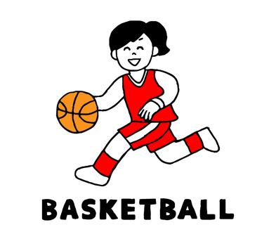 バスケットボールをする女性(シンプル)