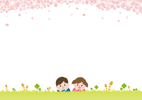 Children lying on the grass on spring _ Sakura C02