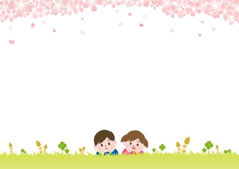 봄 잔디밭에 뒹굴기 아이들 _ 벚꽃 C02