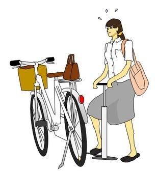 출근 전에 당황해서 공기를 넣는 여성