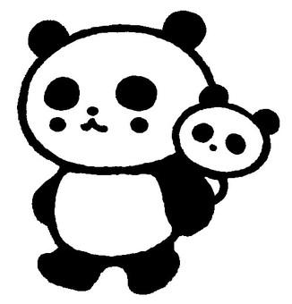 Monkey Panda (monochrome)