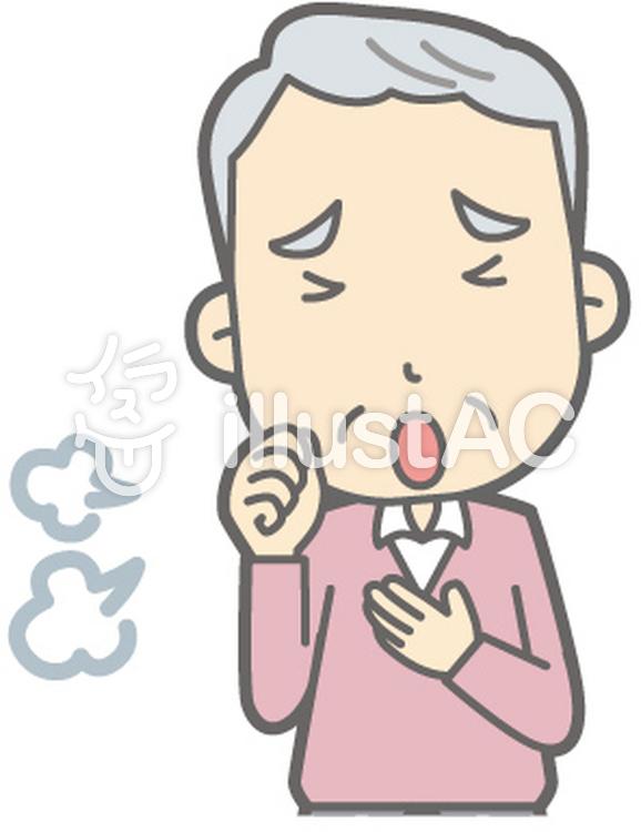 老人男性C-咳-バストのイラスト