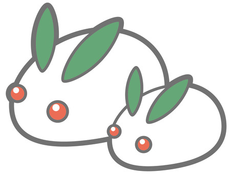 Snow rabbit (parent and child)