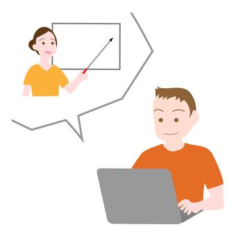 Boy taking an online class at home