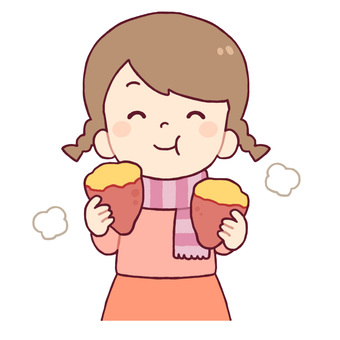 Girls eating sweet potatoes