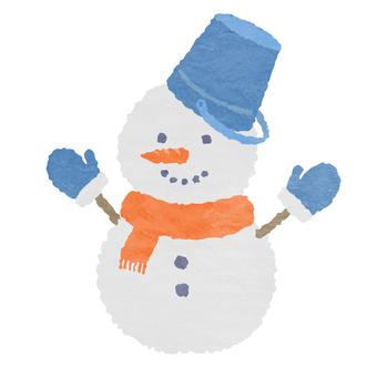 水彩風・2段の雪だるま