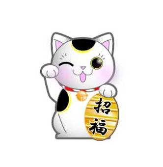 Lucky Cat - Wink - Oval - Right Hands Raised