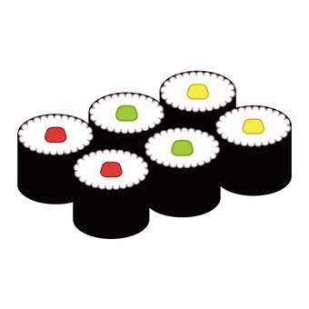 Image of sushi (rolled) rolled sushi