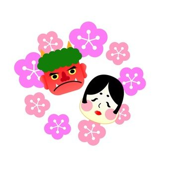 Aka and Okame's face and plum blossoms