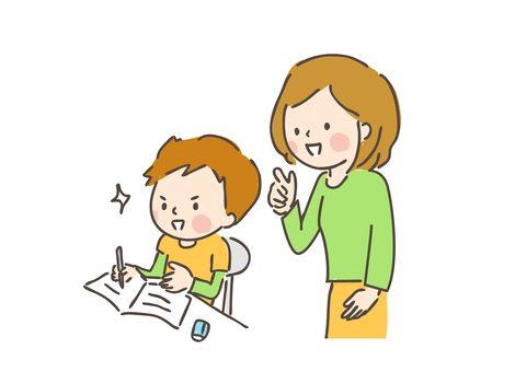 勉強をする子供と教える母親