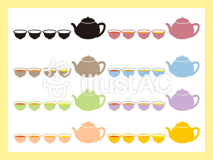茶器セットのイラスト