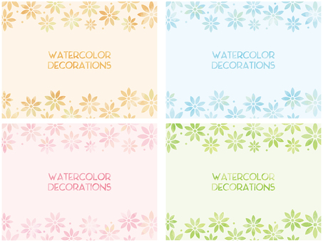 Watercolor frame: Flower pattern 4 color set