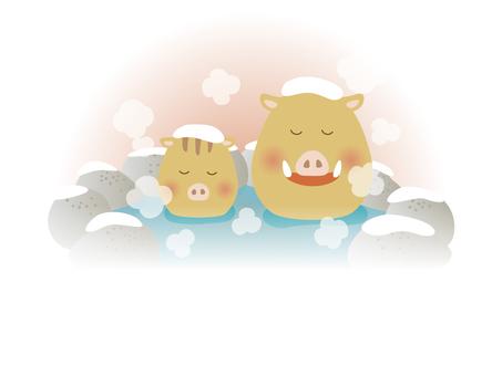 露天風呂(イノシシ)