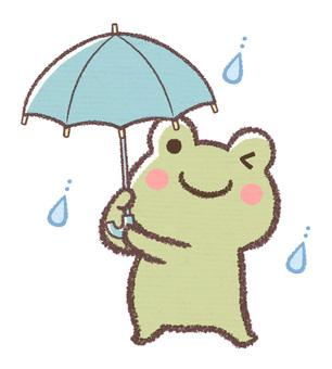 傘さしカエル