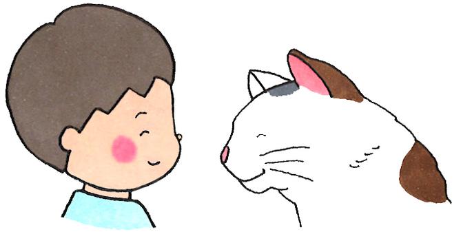 貓和男孩(盯著對方)