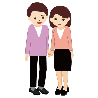 Images of men and women holding hands