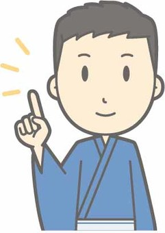 Yukata male - finger pointing - bust