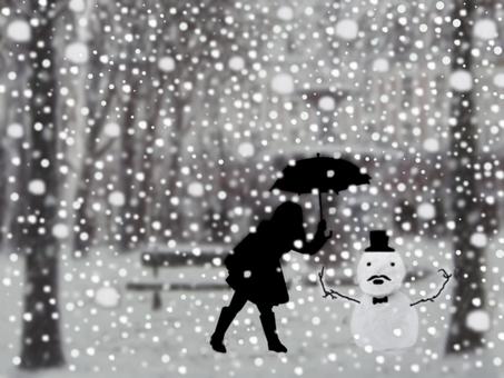 一個女孩和一個雪人說話