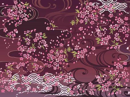 和柄桜がら背景