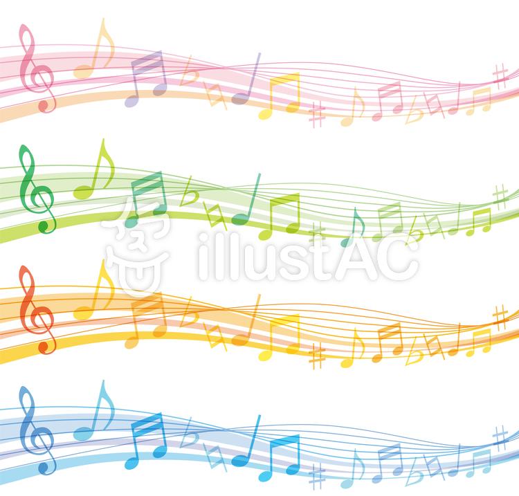 音楽ウェーブフレーム枠背景素材のイラスト